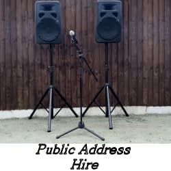 Public Address Hire Service - Speakers and Microphone - Happy Sounds Mobile Disco