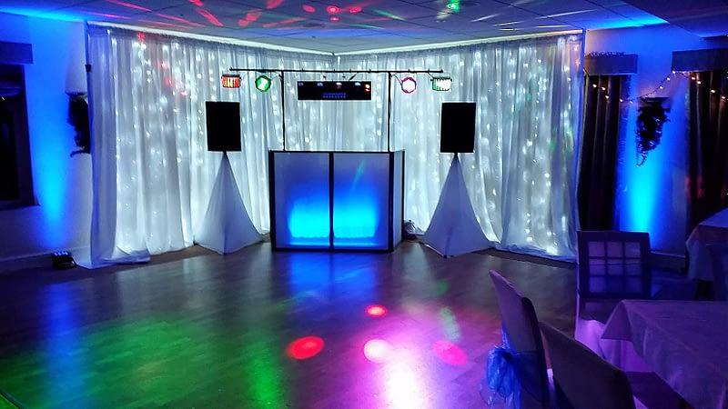 24ft 7.5m LED Star-lit Wedding Backdrop Corner Set - Happy Sounds Mobile Disco