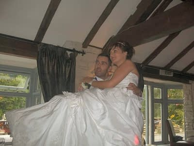 About Happy Sounds Mobile Disco - Wedding at The Boat - Erbistock - Bride and Groom