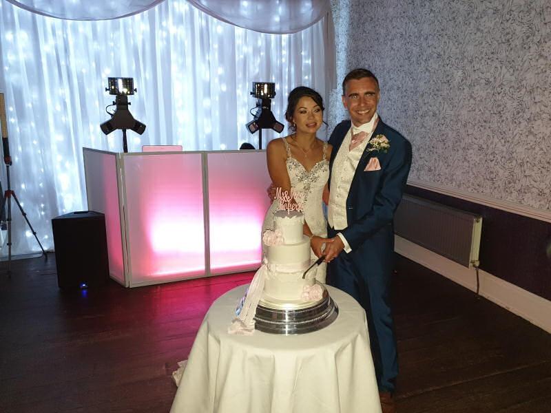Wedding - Cake Cutting - Backdrop - Sweeney Hall Oswestry - Happy Sounds Mobile Disco