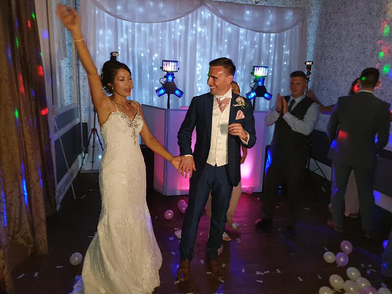 Wedding - First Dance - Backdrop - Sweeney Hall Oswestry - Happy Sounds Mobile Disco