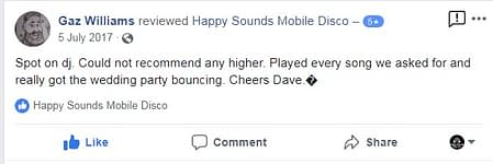Happy Sounds Mobile Disco - Wedding Testimonial July 2017