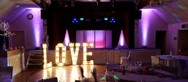 Wedding Reception - Love - Uplighting - Pink - Comrades Ellesmere - DJ - Happy Sounds Mobile Disco