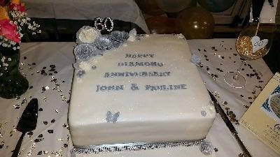 Cake - Double Diamond Wedding Anniversary - Pontesbury -Happy Sounds Mobile Disco