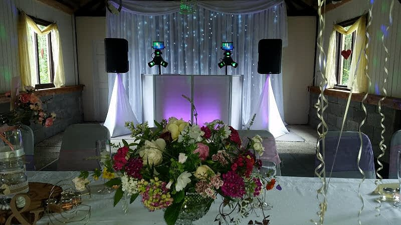 Wedding - Starlit Backdrop - Flowers - Barnutopia Weddings Oswestry - Happy Sounds Mobile Disco